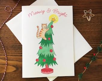 Cat Christmas Card. Funny Christmas Card. Cat Card. Christmas Tree Card. Cat pun card. Pun Christmas Card. Blank Card. Meowy Christmas