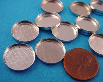 12 Silver tone Round Bezel Cups 15mm High Wall