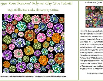 Designer Rose Blossoms polymer clay cane tutorial by CHarm