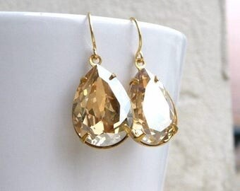 Summer Sale Swarovski Earrings Champagne Golden Shadow Foiled Pear Stone Gold Filled