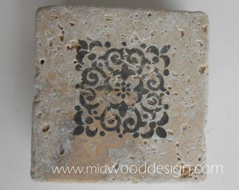 Flower print stone tile coaster set of 4 Gray