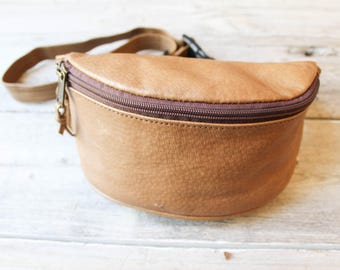 Fun Leather Fanny Pack, Chic fanny pack, BOHO waist purse, Brown Leather Fanny pack, travel pouch