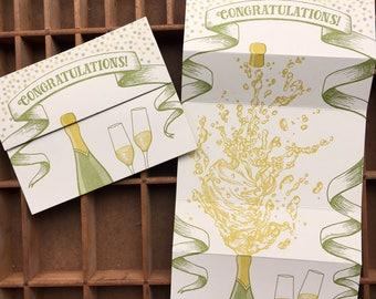 letterpress champagne congratulations card