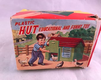 Vintage Build Your Own Plastic Toy Hut with Animals in Original Box