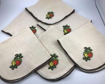 Set of 6 Vintage 1970's Ecru Linen Look Dinner Napkins with Yellow and Orange Strawberries