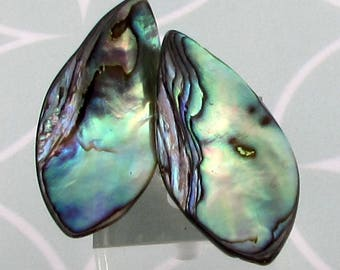 Genuine Abalone Shell Navette Pendant, 34 mm, 1 Pair, A19