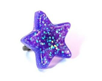 Purple Star Ring, Blue, Purple Resin Ring, Glitter Rave, Adjustable