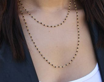DAINTY Tiny Onyx Beaded Long Necklace- Gold Filled