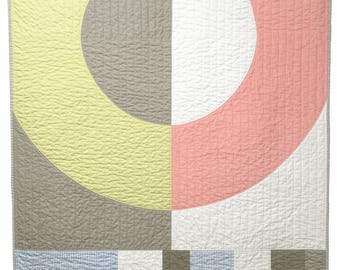 Modern Quilt - Big Ring (in Salmon + Zucchini) Throw, Wall, Crib