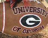 University of Georgia UGA Burlap Team Spirit Football Wreath!!!!!!!!!