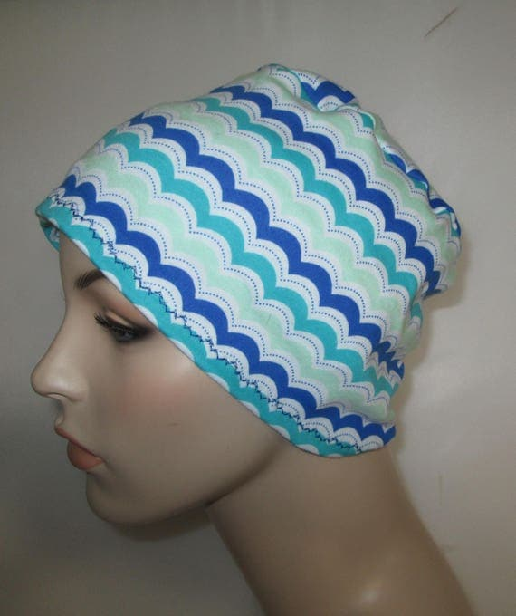Women's Wave Print  Cotton Stretch Knit Chemo Cap, Cancer Hat, Alopecia Beanie