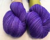 Silver Yarn - Violets - Ready to Ship - Hand Dyed - Merino Wool Yarn - Sock Yarn