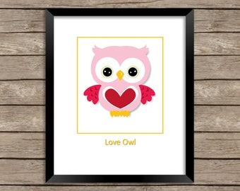 Love Owl, Print that would be a fun gift for your sweetheart or children's room