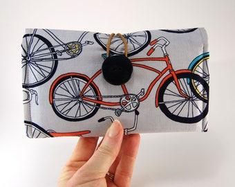 THREE Checkbook Cover, Fabric Checkbook Case, Checkbook Holder, Multiple Checkbook Cover, Bike print in gray and orange