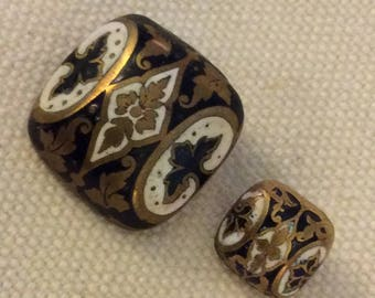Modified & Domed Square Enamels -  Pair of Antique Buttons