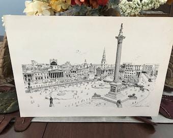 VINTAGE - Black and White Print - Trafalger Square London England