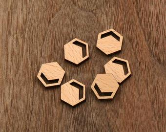 8pcs handmade laser cut wooden cabochons wood cut slice disc charm (WS 192)
