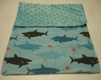 Sharks Baby Burp Cloth with Minky 11 X 20  READY TO SHIP