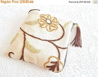CLEARANCE - Upholstery pouch,  brown ivory crewel purse, embroidered purse, zipper pouch, lined clutch, fashion accessory, womens accessory