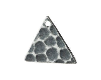 1 Hole Sterling Silver Ox Hammered Triangle Charms Drops 13mm (10) mtl147W