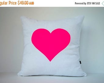 ON SALE Heart in Neon Pink on White - Hand Printed Cushion Cover - Linen Cotton - 40cm x 40cm