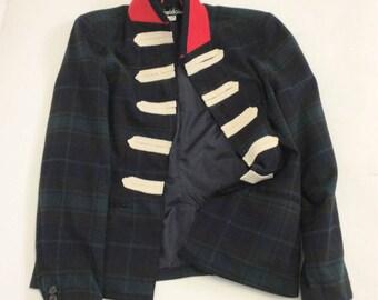 Handmade Military style Tartan Plaid Blazer XL