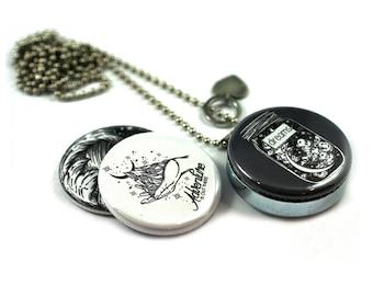 Magic Dreams Locket Necklace •  Mason Jar Locket • Nature Locket • Ocean Jewelry • Spiritual Locket Necklace • Custom Stamped • Magnetic