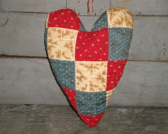 LARGE Old Quilt Heart Fabric Stuffed | Vintage Quilt Heart | Primitive Quilt Heart | Antique Quilt Heart | Red White Blue Old Quilt Heart