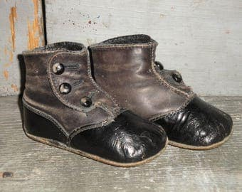 Vintage Black Leather Victorian Button Up Hard Sole Toddler Shoes  | Old Baby Shoes | Antique Black Leather Baby Shoes | Primitive Shoes