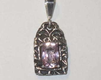 Natural Kunzite Pendant - Genuine Pink Gemstone in Unique Solid Silver Setting