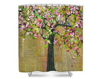 Tree Art, Bluebirds, Shower Curtain, Bathroom Decor, Oversized Art