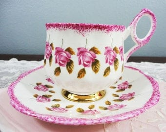 Rosina Pink Roses English Bone China Teacup and Saucer - Speckled Pink Rims and Handle