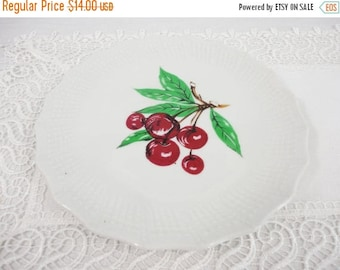 CLEARANCE SALE - Vintage Cherry Plate with Textured Border