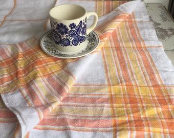 Vintage Tablecloth Linen Orange Plaid - 44 x 48 Inches