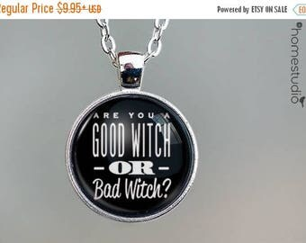 ON SALE - Good Witch Quote jewelry. Necklace, Pendant or Keychain Key Ring. Perfect Gift Present. Glass dome metal charm by HomeStudio