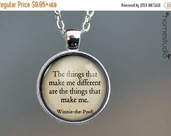 ON SALE - Winnie (Different) Quote jewelry. Necklace, Pendant or Keychain Key Ring. Perfect Gift Present. Glass dome metal charm by HomeStud