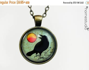 ON SALE - Raven Myth : Glass Dome Necklace, Pendant or Keychain Key Ring. Gift Present metal round art photo jewelry by HomeStudio