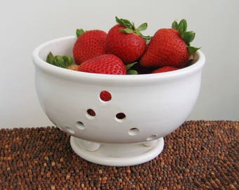 Berry Bowl, Medium Footed Ceramic Berry Bowl with Saucer, Modern White Handmade Wheel Thrown Stoneware Pottery, Chef Gift, Strawberry Bowl