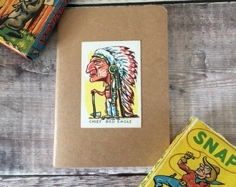Native American Chief Notebook with vintage playing card cover A6 size