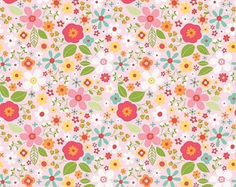 ON SALE Riley Blake Designs Garden Girl by Zoe Pearn - Floral Pink