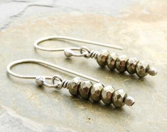 Pyrite Earrings, Pyrite Jewelry, Yellow Bronze Color Earrings, Gemstone Dangle Earrings, Sterling Silver, Everyday Earrings  #4915