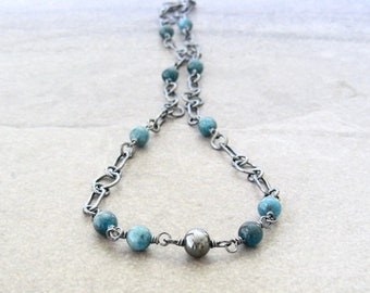 blue apatite necklace, minimalist silver necklace, handmade chain necklace, blue stone necklace, apatite necklace, oxidized jewelry