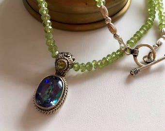Peridot Necklace-Mystic Quartz Pendant Necklace-Bali Silver Pendant