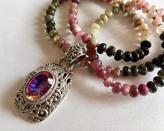Tourmaline Necklace-Mystic Quartz Pendant Necklace