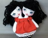 Tiny 2 headed Rag Doll for Your or Your Dolls, Two Headed Goth for Blythe and BJD, miniature cloth doll
