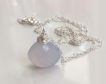 Palest blue chalcedony drop necklace sterling silver 16""