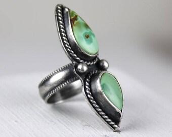 Turquoise Double Stone Ring, Size 7, Royston Turquoise Ring, Statement Ring, Two Stone Ring, Boho Southwestern Ring