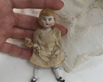 Antique German Jointed Bisque Baby Toddler Child Doll 1920s Original Gown with Millinery Flowers