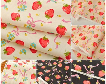4569 - Japanese Strawberry & Bowknot Twill Cotton Fabric - 43 Inch (Width) x 1/2 Yard (Length)