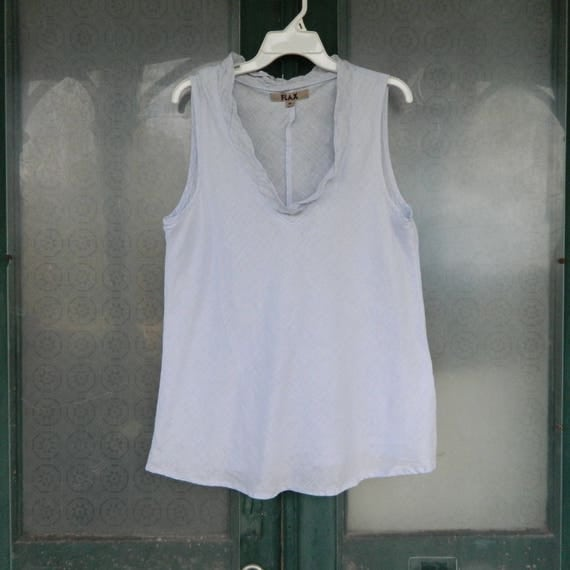 FLAX Designs Sleeveless Scoop Neck Tank -M- Pale Gray/Lavender Light Weight Linen with Gauze Trim